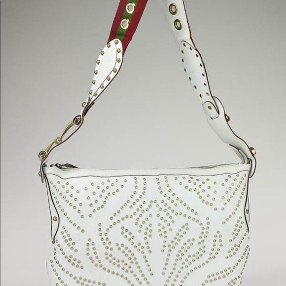 Gucci Handbags - GUCCI White Lthr Pelham Lady Bag Red Green Marmont